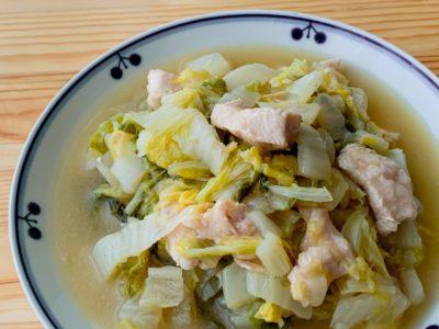 白菜と鶏むね肉の酒蒸し生姜スープ