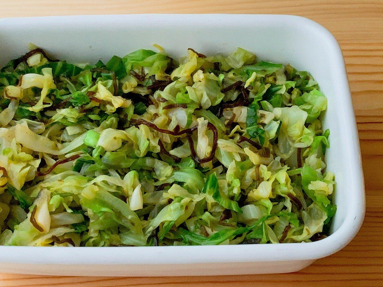 【野菜ひとつ】キャベツの塩昆布レモン和え