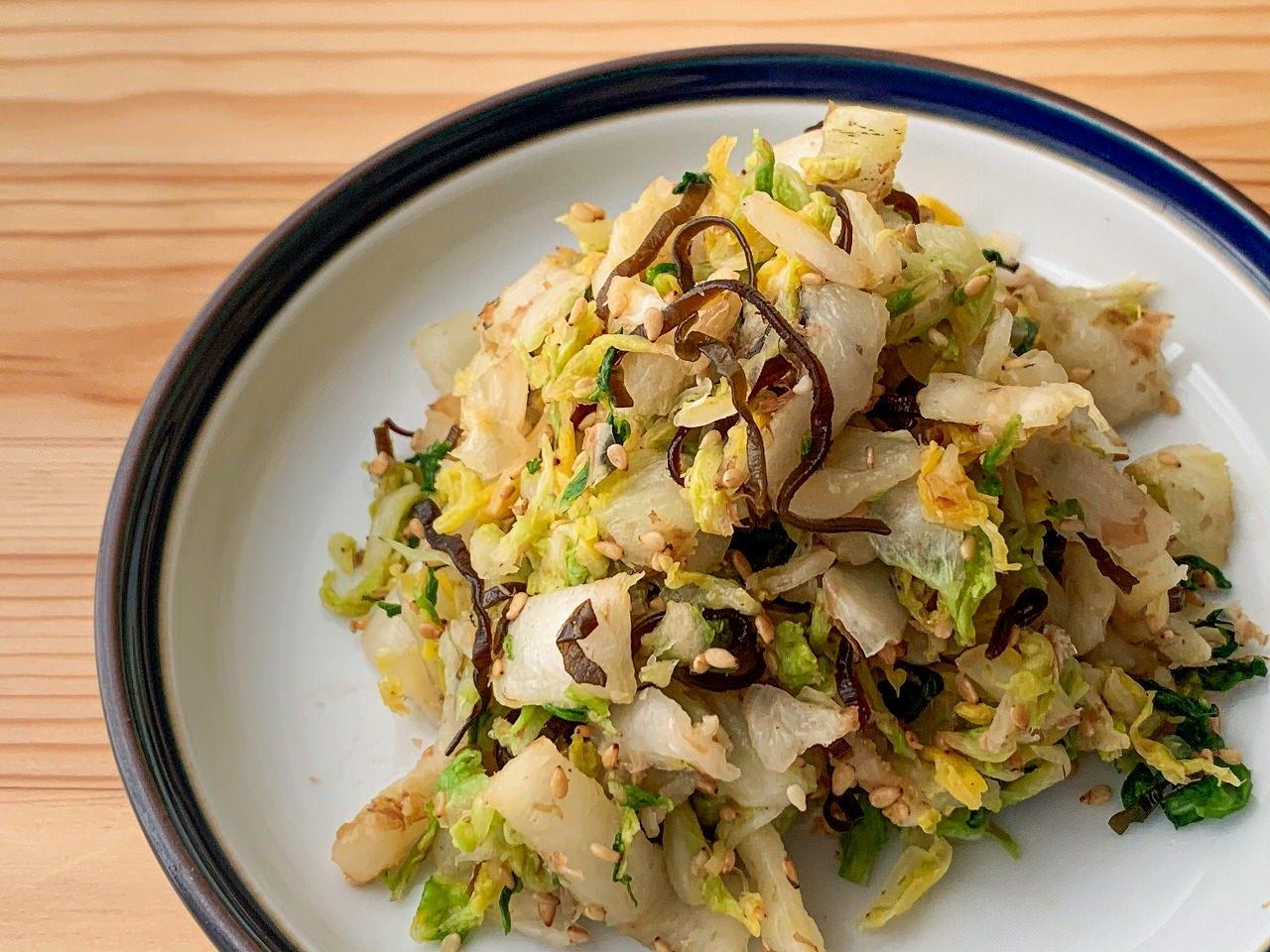 【野菜ひとつ】白菜の塩昆布おかか和え