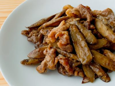 ごぼうと豚こまの甘辛炒め煮