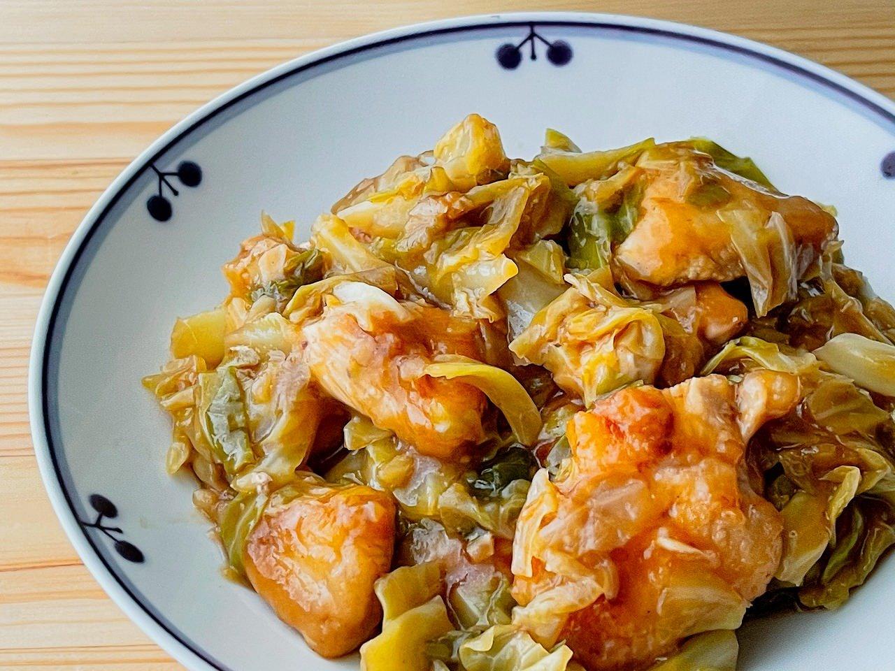 キャベツと鶏むね肉のオイスターソース炒め