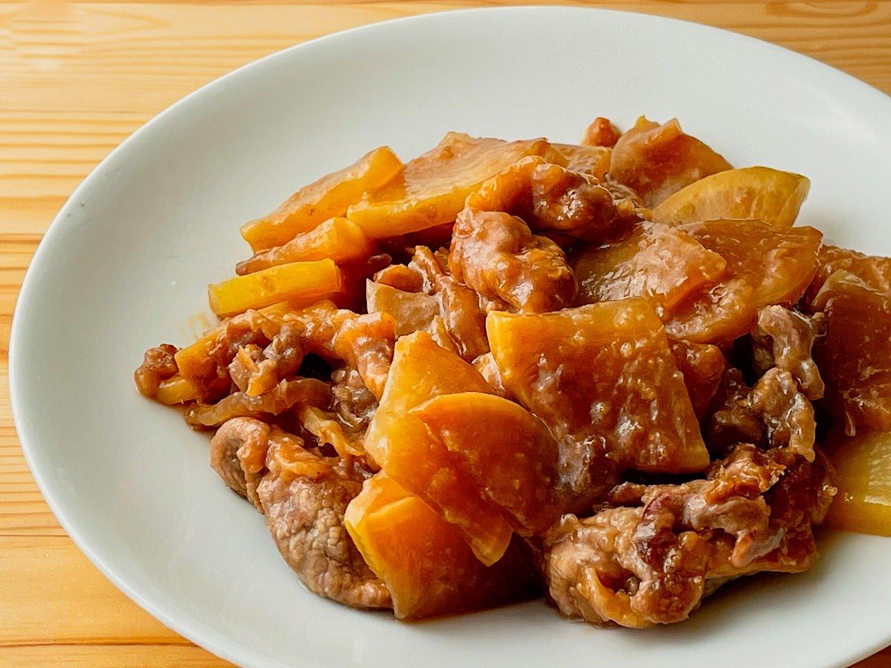 大根と豚こまの甘辛炒め煮