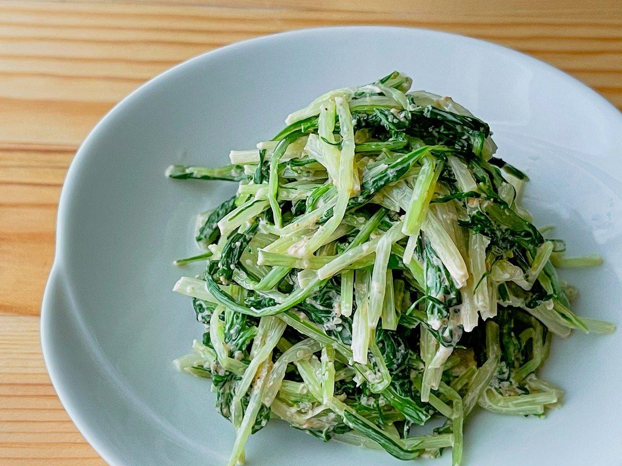 【野菜ひとつ】水菜のごまマヨ和え