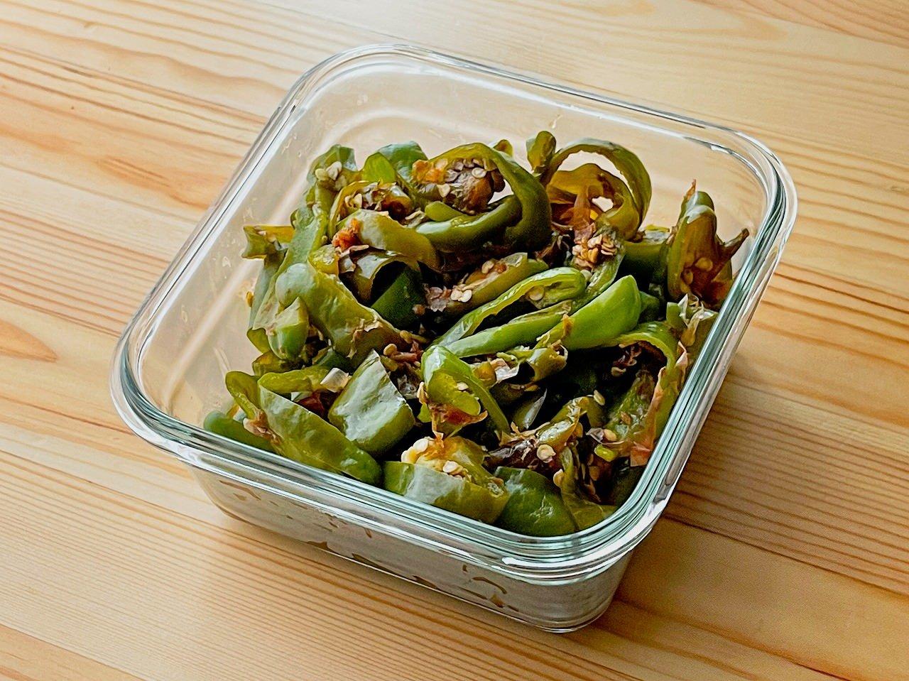 【野菜ひとつ】ピーマンの酢じょうゆ和え
