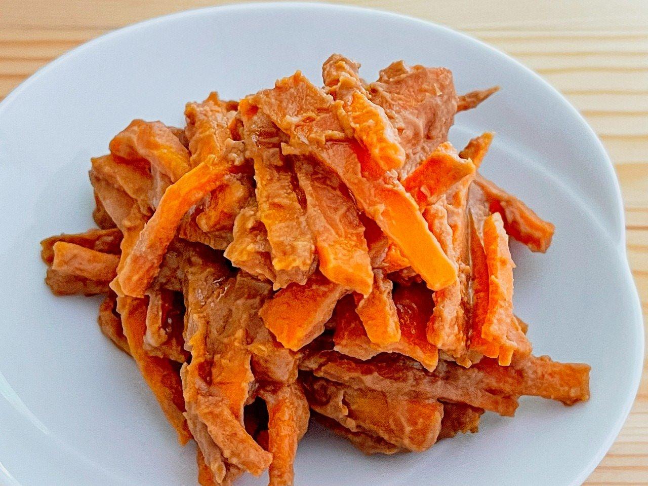 【野菜ひとつ】にんじんのきな粉マヨ炒め