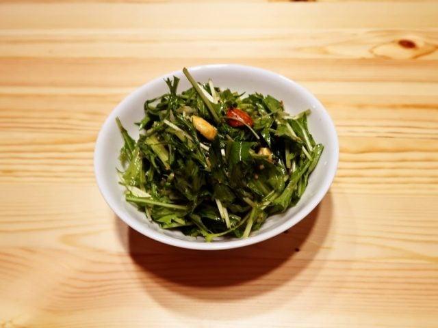 水菜とミックスナッツのサラダ