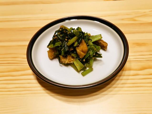 混ぜご飯にも かぶの葉と油揚げの炒めもの