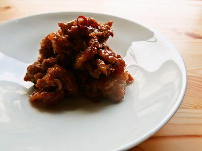 豚こま肉の豆板醤しょうが焼き