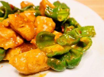 鶏肉とピーマンのカレー炒め