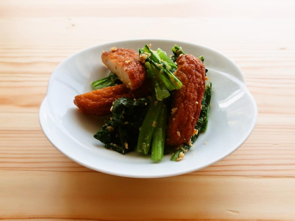 さつま揚げ(天ぷら)と小松菜のしょうが和え