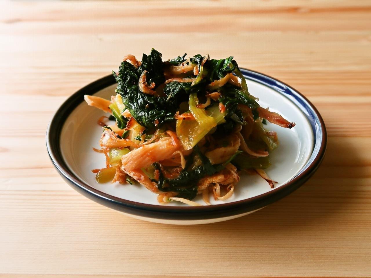青梗菜とするめの豆板醤炒め