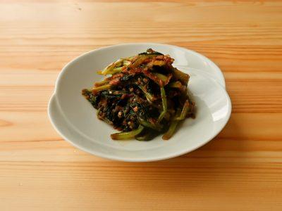 【野菜ひとつ】かぶの葉の味噌マヨ炒め
