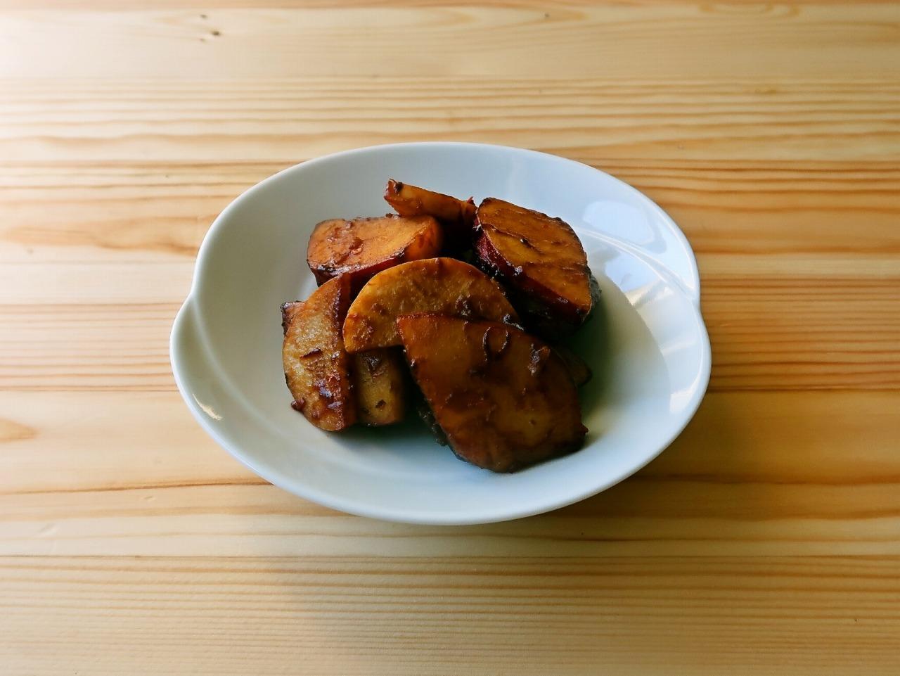 さつまいもと長芋の中華みそ炒め