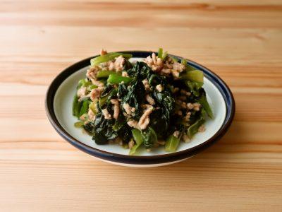 小松菜の肉みそ炒め