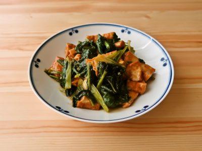 小松菜と厚揚げの広東風ソース炒め