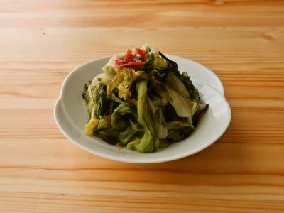 【野菜ひとつ】酒蒸しレタスの塩昆布梅和え