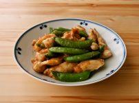スナップえんどうと鶏むね肉のオイマヨ炒め