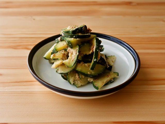 【野菜ひとつ】ズッキーニのおかかマヨ和え