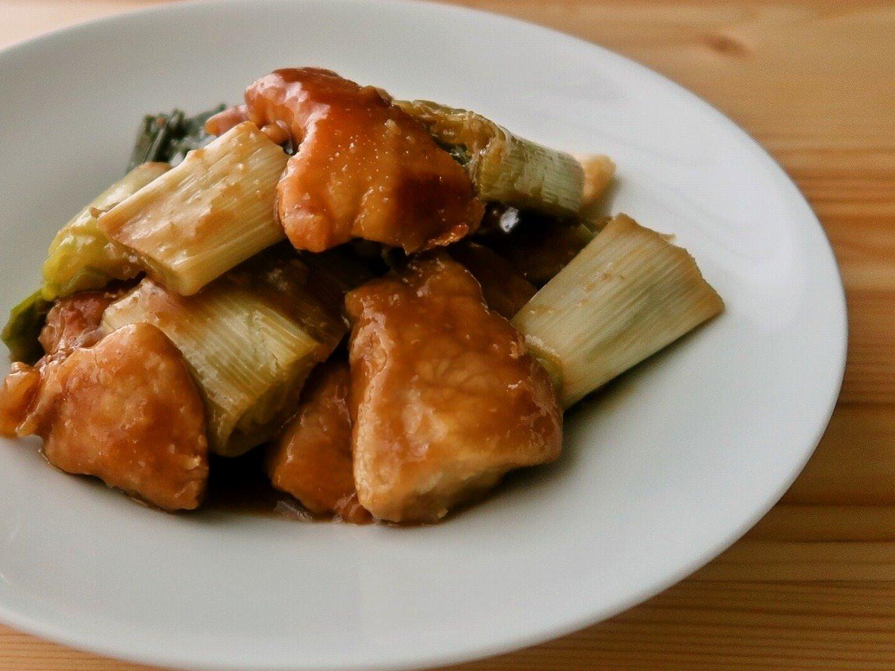 長ねぎと豚もも肉のオイスターソース炒め