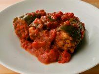 丸ごとピーマン肉詰めのトマト煮