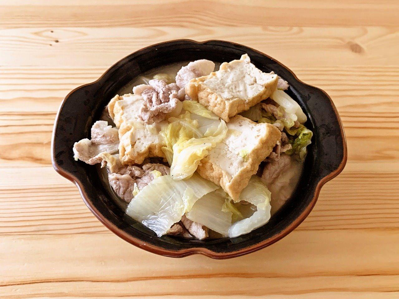 白菜と厚揚げの具だくさんスープ