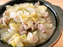白菜と豚こまの酒蒸しスープ