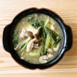 鶏むね肉と小松菜ときのこの和風しょうがスープ