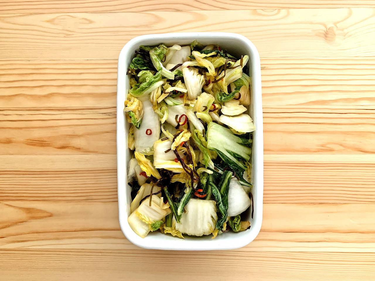 【野菜ひとつ】塩昆布で白菜の浅漬け風